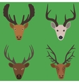 Collection of deer heads in a flat design vector image vector image