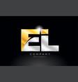 combination letter el e l alphabet with gold vector image vector image