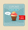 cute card red cupcake with wafer vector image vector image