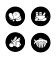 Dish ingredients black icons set vector image