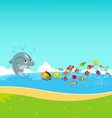 Dolphins and oceanic vector image