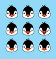 emoticon cute penguin emotion faces vector image vector image