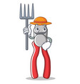 farmer pliers character cartoon style vector image vector image