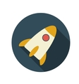 Flat Design Concept Rocket With Long Shadow vector image