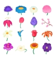 Flower icons set cartoon style vector image