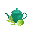 green ceramic teapot lime fruit and a sprig of vector image vector image