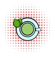 Green tea cup icon comics style vector image vector image