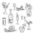 hand drawn of alcohol bar menu vector image vector image