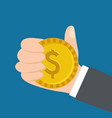 hand holding dollar coin money image vector image vector image