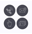 Hand pointer contacts and gps satellite icons vector image vector image