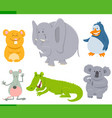 happy animal characters cartoon set vector image vector image