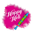 happy holi pichkary and pink splash color vector image vector image