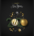 happy new year 2020 card gold 3d xmas ornament vector image vector image