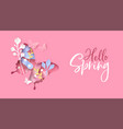 hello spring pink flower butterfly paper cut card vector image
