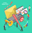 isometric concept email analytics vector image vector image