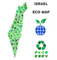 leaf green mosaic israel map vector image vector image
