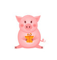 little pink pig character with present the year vector image vector image