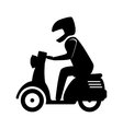 man riding scooter motorcycle vector image vector image