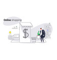 man using mobile application online market vector image vector image
