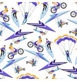 motorbiking and parachuting extreme hobbies vector image vector image