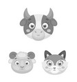muzzles of animals monochrome icons in set vector image vector image