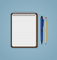 Notebook with pen and pencil vector image vector image