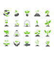 organic sprout simple color flat icons set vector image vector image