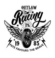 outlaw racing emblem template with biker skull vector image vector image