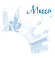 Outline Mecca Skyline with Blue Landmarks vector image vector image