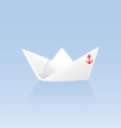 Paper boat on a blue background vector image