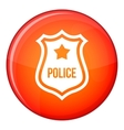 Police badge icon flat style vector image