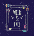 poster in boho style american indian motifs vector image vector image