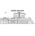 queens new york architecture line skyline vector image vector image