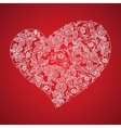 Red valentine heart in floral style isolated on vector image vector image