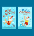 santa claus riding water skies red hat new year vector image vector image