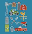 set 11 detailed farm icon vector image