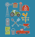 set of 11 detailed farm icon vector image vector image