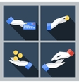 Set of four icons with hands holding the vector image