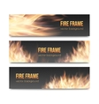 set realistic transparent fire flame banners vector image