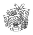 shopping gift boxes in black and white vector image vector image