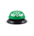 start reform round green button 3d vector image vector image