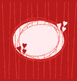 stylish oval frame with hearts fancy banner vector image