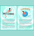 sweet summer vacation people woman swimming vector image vector image