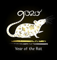 symbol year decorative white rat vector image vector image