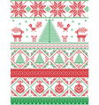 Tall xmas pattern with xmas tree in red green vector image vector image