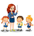 teacher talking with her students on white vector image
