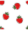 the pattern hand draw strawberries vector image vector image