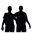 two men and embrace black silhouette vector image vector image