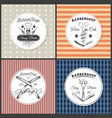 vintage barbershop lettering set colorful vector image
