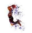 watercolor silhouette of basketball player vector image vector image